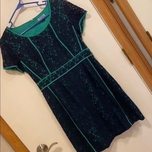 Navy and green dress